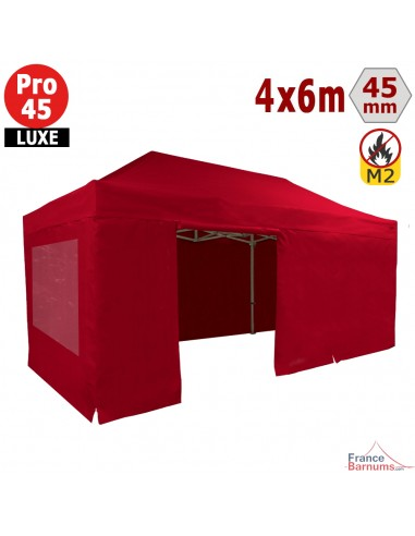 Barnum pliant - Stand pliant Alu Pro 45 LUXE M2 4mx6m ROUGE + Pack Fenêtres 380gr/m²