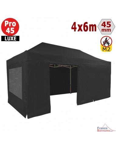 Barnum pliant - Stand pliant Alu Pro 45 LUXE M2 4mx6m NOIR + Pack Fenêtres 380gr/m²
