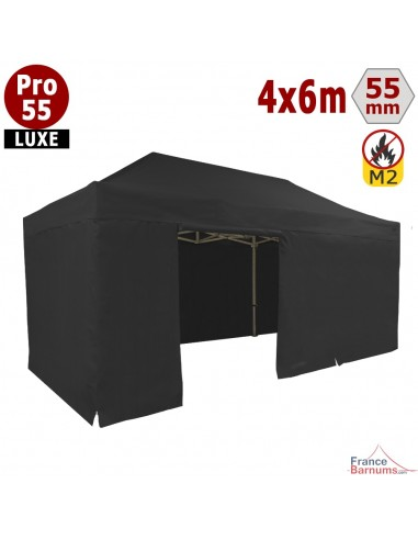 Barnum Alu Pro 55 LUXE M2 4mx6m NOIR + Pack Côtés 580gr/m²