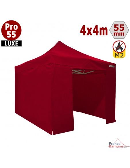 Barnum pliant 4x4M Pro 55 Luxe ROUGE avec pack murs PVC 580g/m2