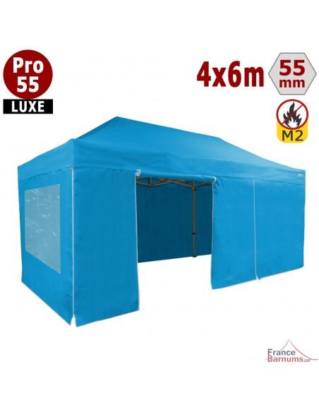 Barnum Alu Pro 55 LUXE M2 4mx6m BLEU CIEL + Pack Fenêtres 580gr/m²
