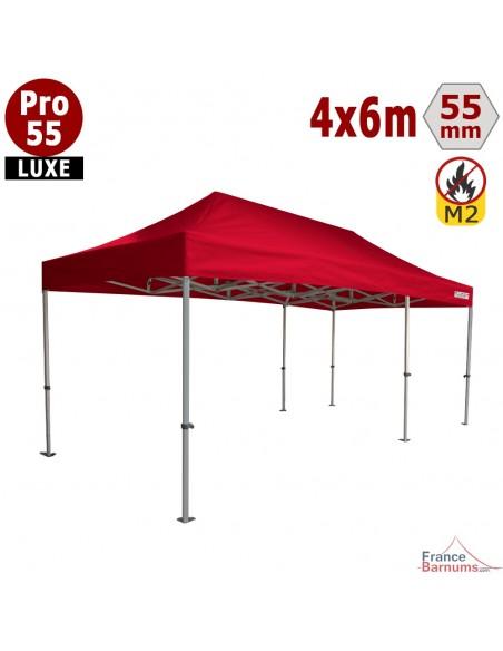 Chapiteau pliant rouge structure aluminium et bâche PVC 32m2