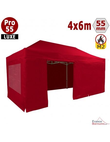 Barnum Alu Pro 55 LUXE M2 4mx6m ROUGE + Pack Fenêtres 580gr/m²