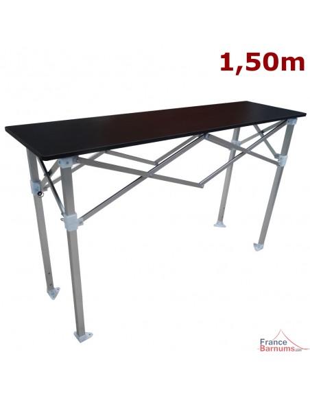 Table Comptoir Pliante 1,50m avec Plateau noir de 42cm