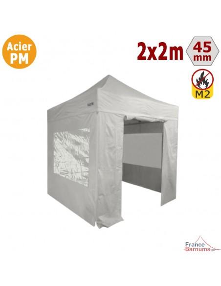 Stand acier 2x2m + Pack 4 murs avec 2 fenêtres