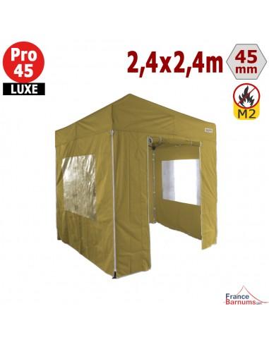 Barnum pliant - Tente pliante Alu Pro 45 LUXE M2 2,4mx2,4m VERT DORÉ + Pack Fenêtres 380gr/m²