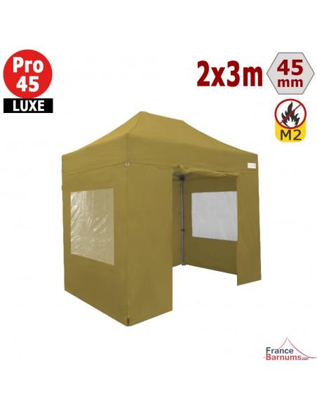 Barnum pliant Aluminium Pro 45 LUXE M2 2mx3m VERT DORÉ + Pack Fenêtres 380gr/m²