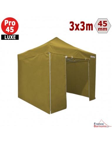 Tente pliante Alu Pro 45 LUXE M2 3mx3m VERT DORÉ + Pack Côtés 380gr/m²