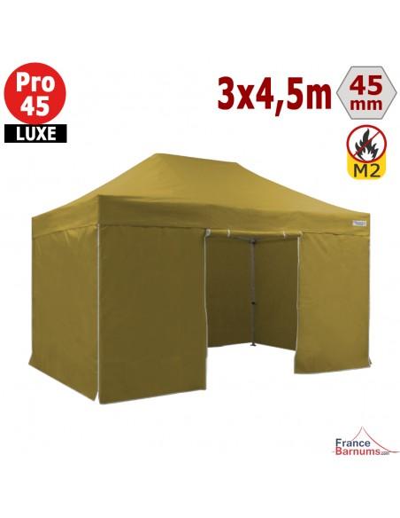 Barnum pliant Alu Pro 45 LUXE M2 3mx4,5m VERT DORÉ + Pack 4 Côtés 380gr/m²