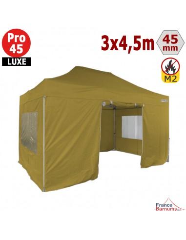 Barnum pliant Alu Pro 45 LUXE M2 3mx4,5m VERT DORÉ + Pack Fenêtres 380gr/m²