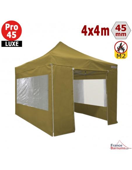 Barnum pliant Aluminium Pro 45 LUXE M2 4mx4m VERT DORÉ + Pack Fenêtres 380gr/m²
