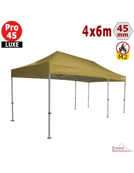 Barnum pliant - Tente pliante Alu Pro 45 LUXE M2 4mx6m VERT DORÉ 380gr/m²