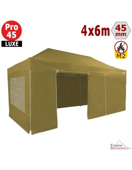 Barnum pliant - Tente pliante Alu Pro 45 LUXE M2 4mx6m VERT DORÉ + Pack Fenêtres 380gr/m²