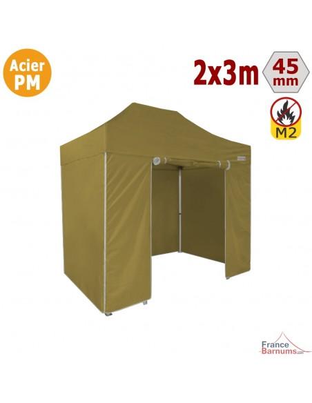 Barnum Pliant - Stand Acier Premium M2 2x3m VERT DORÉ + Pack Côtés 380gr/m²