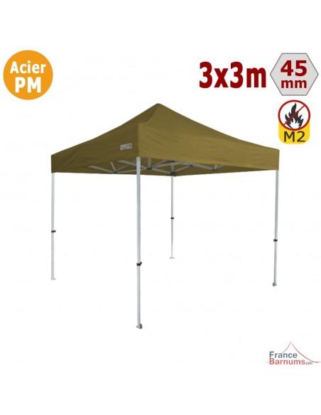 Barnum Pliant - Stand Acier Premium M2 3x3m VERT DORÉ 380gr/m²