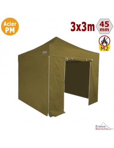Barnum Pliant Acier Premium M2 3x3m VERT DORÉ + Pack Côtés 380gr/m²