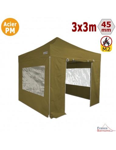 Barnum Pliant Acier Premium M2 3x3m VERT DORÉ + Pack Fenêtres 380gr/m²