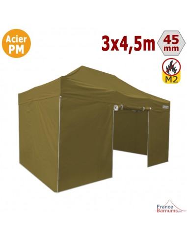 Barnum Pliant Acier Premium M2 3x4,5m VERT DORÉ + Pack Côtés 380gr/m²