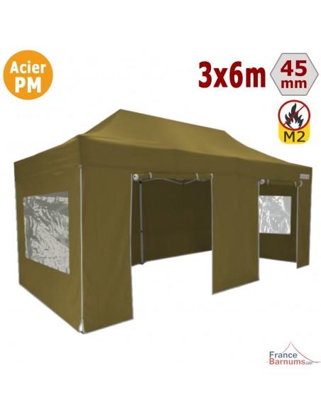 Barnum Pliant Acier Premium M2 3x6m VERT DORÉ + Pack Fenêtres 380gr/m²