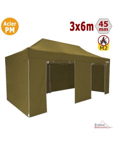 Barnum Pliant Acier Premium M2 3x6m VERT DORÉ + Pack Côtés 380gr/m²