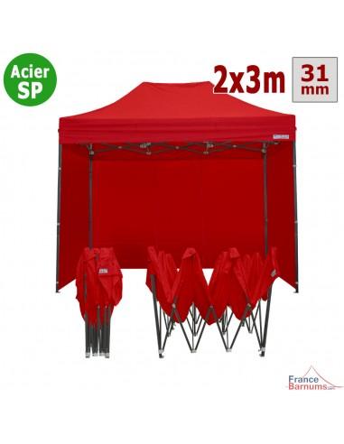 Barnum pliant - Tonnelle Acier Semi Pro 2mx3m ROUGE avec Pack 4 Côtés
