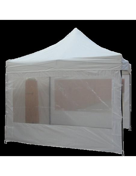 Barnum pliant - Tonnelle Acier Semi Pro 3mx3m BLANC avec Pack Fenêtres