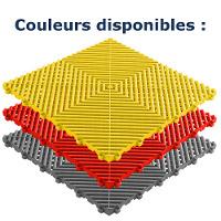 Nos dalles à clipser sont disponibles en 3 couleurs : gris, rouge et jaune