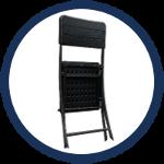 Chaise complètement pliable pour un gain de place lors du stockage