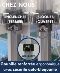 Goupille ergonomique renforcée avec sécurité auto-bloquante