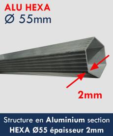 Notre tente pliante Alu 55 a une structure renforcée en alu diamètre 55mmx2mm