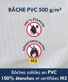 Bâches solides en PVC 100% étanches homologuées Norme M2