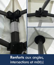 La bâche de toit de notre tente pliante Acier Loisirs possède des renforts aux angles, intersections et tête(s) de mât(s)